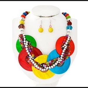 Jewelry - Multi Color Shell & Seed Beads Necklace & Earrings